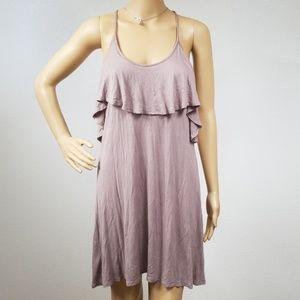 Forever 21 Grey Ruffle flowy midi dress A4